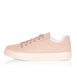 Pink perforated lace-up plimsolls