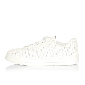White perforated lace-up plimsolls