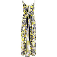 Yellow print maxi dress