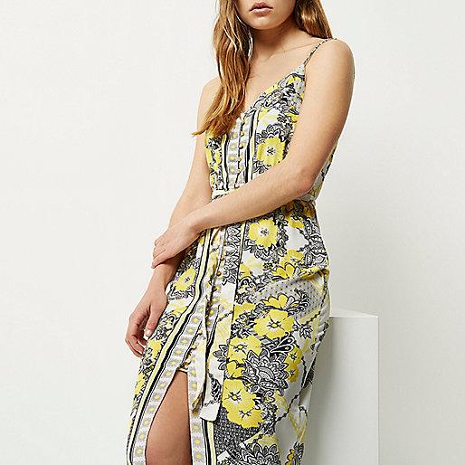 Yellow print maxi dress - maxi dresses - dresses - women