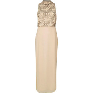 Beige embroidered high neck maxi dress