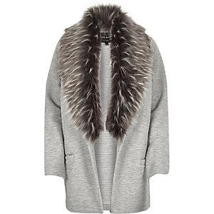 Grey jersey faux fur collar jacket