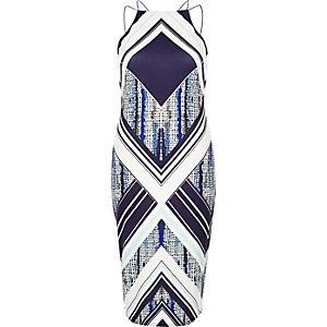 Blue graphic print bodycon dress
