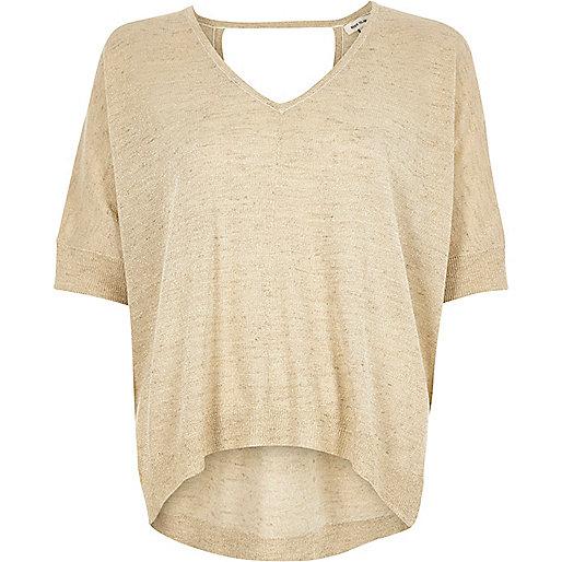 Cream knit linen t-shirt