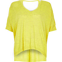 Bright yellow slub linen t-shirt