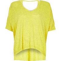 T-shirt en lin flammé jaune vif