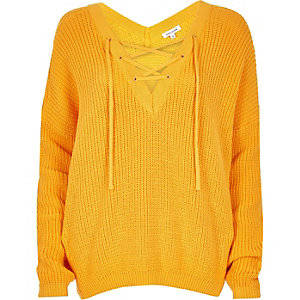 Yellow lace-up sweater