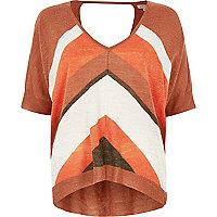 Orange block print knitted top