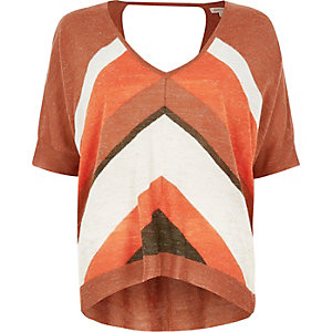 Orange block print knitted top