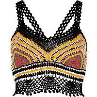 Black print crochet bralet
