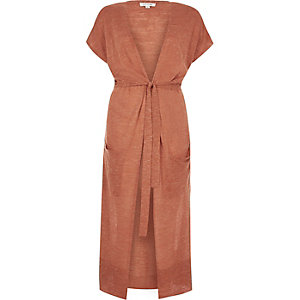 Rust brown linen cardigan