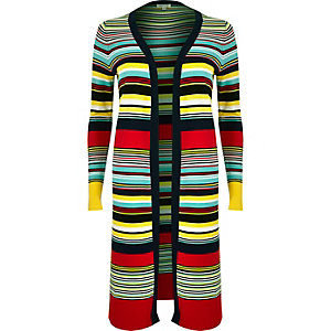 Blue knitted stripe cardigan