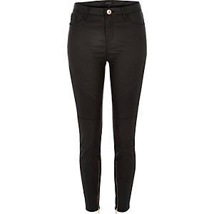 Black leather-look biker superskinny jeans