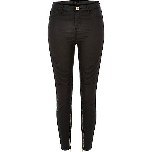 Black leather look Amelie biker jeans