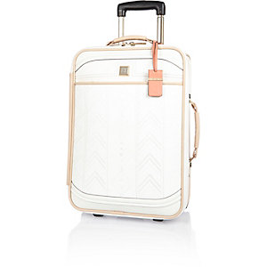 White embroidered suitcase