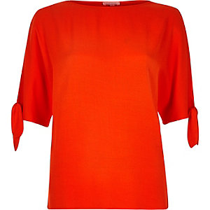 Orange split sleeve t-shirt