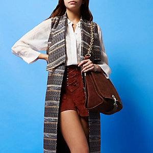 RI Studio rust suede foldover handbag