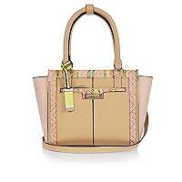 Light brown mini winged tote bag