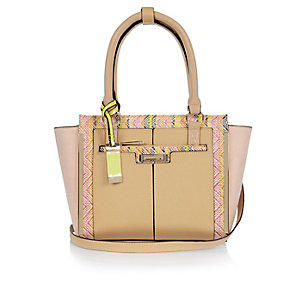 Light brown mini winged tote bag