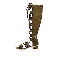 Khaki lace-up knee high sandals