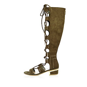 Khaki lace-up knee high sandals