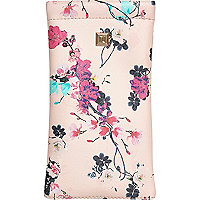 Pink floral print snap sunglasses case