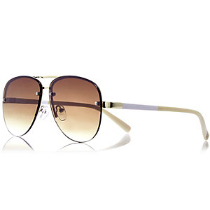 Brown frameless aviator-style sunglasses