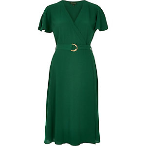 Dark green D-ring wrap midi dress