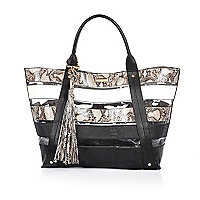Black stripe clear beach tote handbag