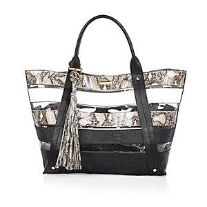 Black stripe clear beach tote handbag