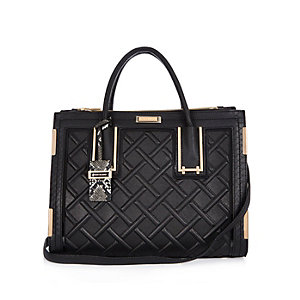 Black diamond quilted handbag