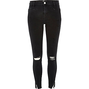 Black twisted seam ripped Molly jeggings
