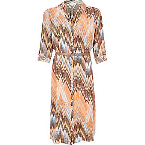 Brown zig zag midi shirt dress
