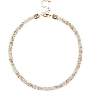 White beaded mesh tube necklace