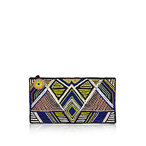Blue embroidered clutch