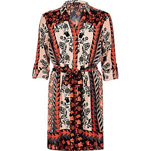 Orange printed shirt dress
