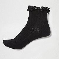 Black frilly ankle socks