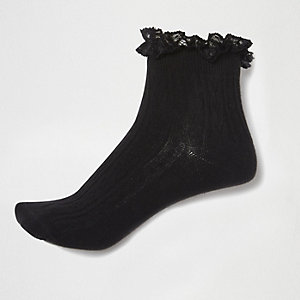 Black frilly ankle socks