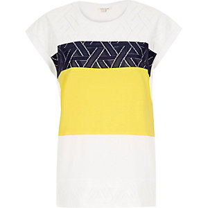 Yellow lace color block t-shirt