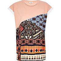 Light pink print color block t-shirt