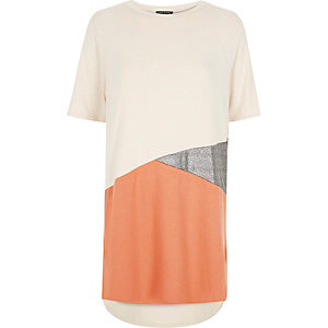 Beige color block oversized t-shirt