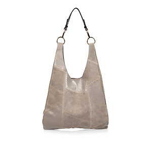Grey leather and suede patchwork slouch bag
