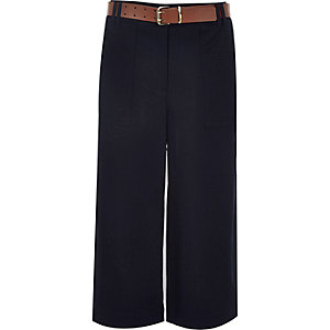 Navy blue belted culotte pants