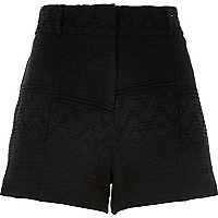 Black jacquard high waisted shorts