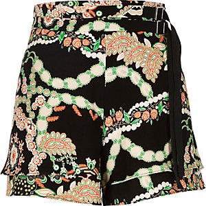 Black floral print high waisted belted shorts