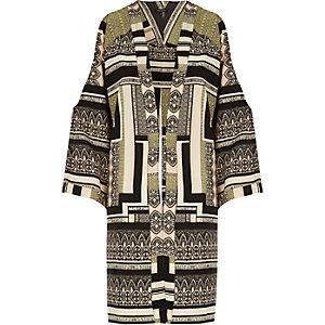 Khaki print kimono