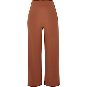 Brown cropped wide leg trousers