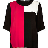 Dark pink color block t-shirt