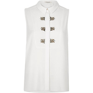 White embellished sleeveless blouse