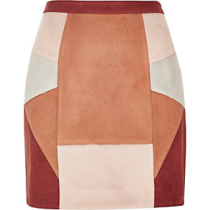 Red faux suede patchwork mini skirt